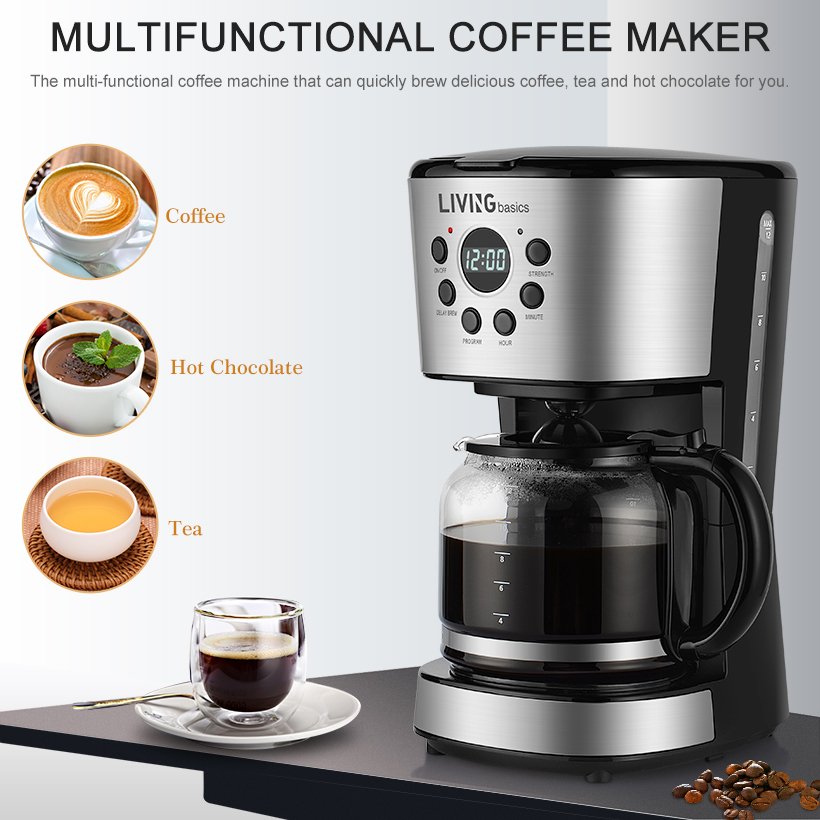 12 Cup Coffee Maker Programmable With 1 8l Carafe Pot Black Real Canadian Superstore