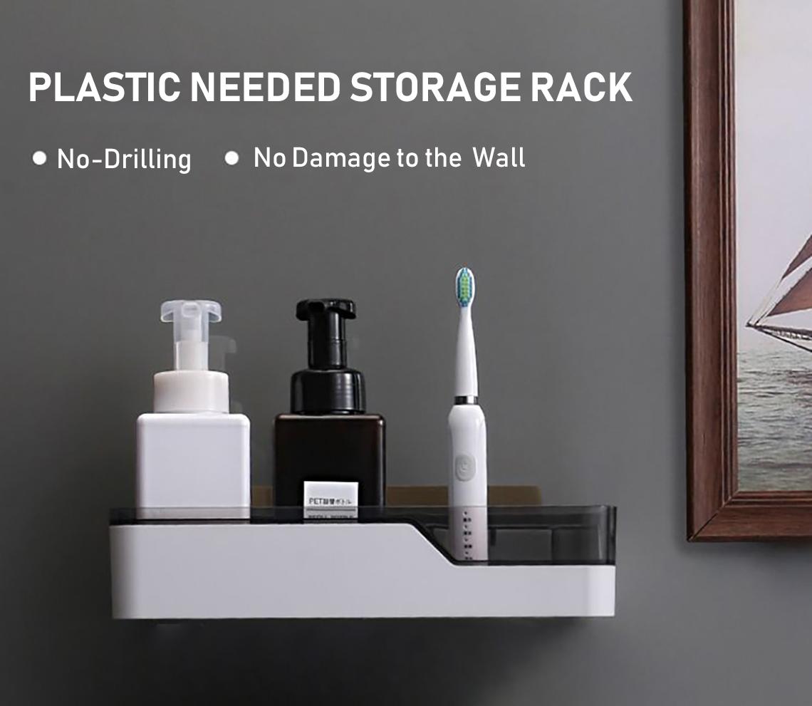 Self-Adhesive Plastic No-Nailing No-Drilling Needed Storage Rack