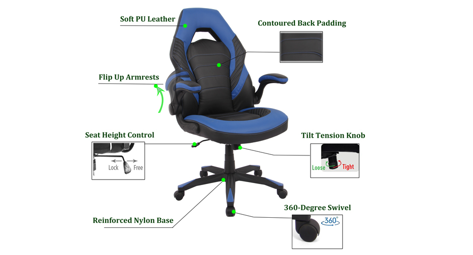 Gaming Chair Racing Office Chair Computer Chair With Flip Up Arms Moustache