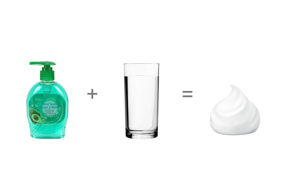 Regular Soap + Water, foam hand soap is recommended for a better result