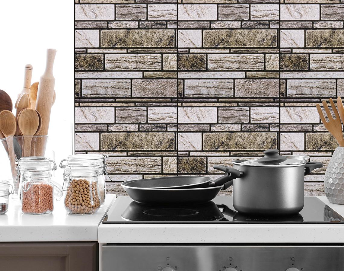 3D Tile Wall Decals Peel and Stick Self-Adhesive, Brown/Grey Bricks