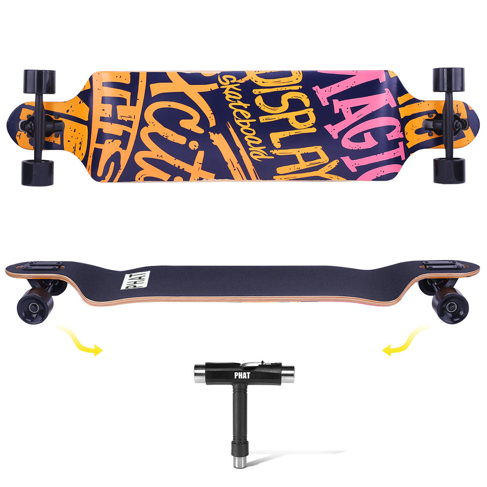 4daa0 phat gza 00379 sports recreation drop through deck skateboard longboard complete super cruiser phat
