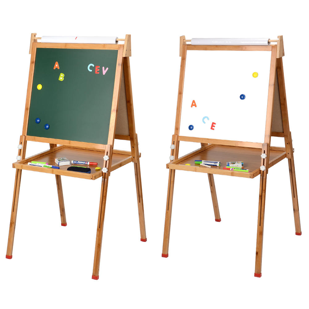97fb0 livingbasics lb sae 001 paint supplies livingbasics bamboo wooden kid s standing art easel drawing board with paper roll and accessories