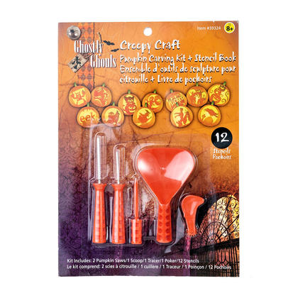 Halloween Creepy Craft Deluxe Carving Kit with stencil book - Ghostly Ghouls