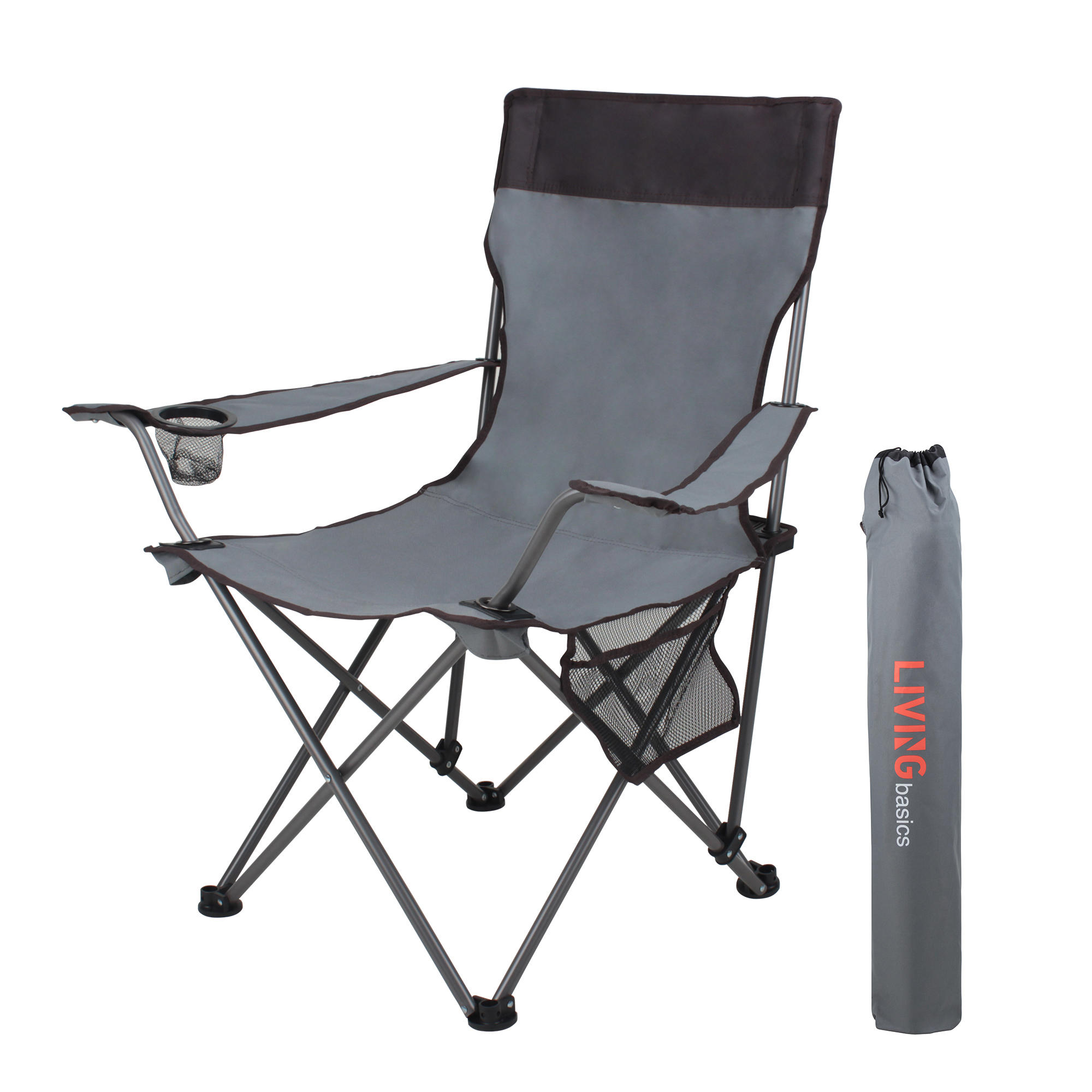 B00c0 livingbasics lvb2 1410b gy camping chairs tables portable folding camping chair with armrests cup holder livingbasics