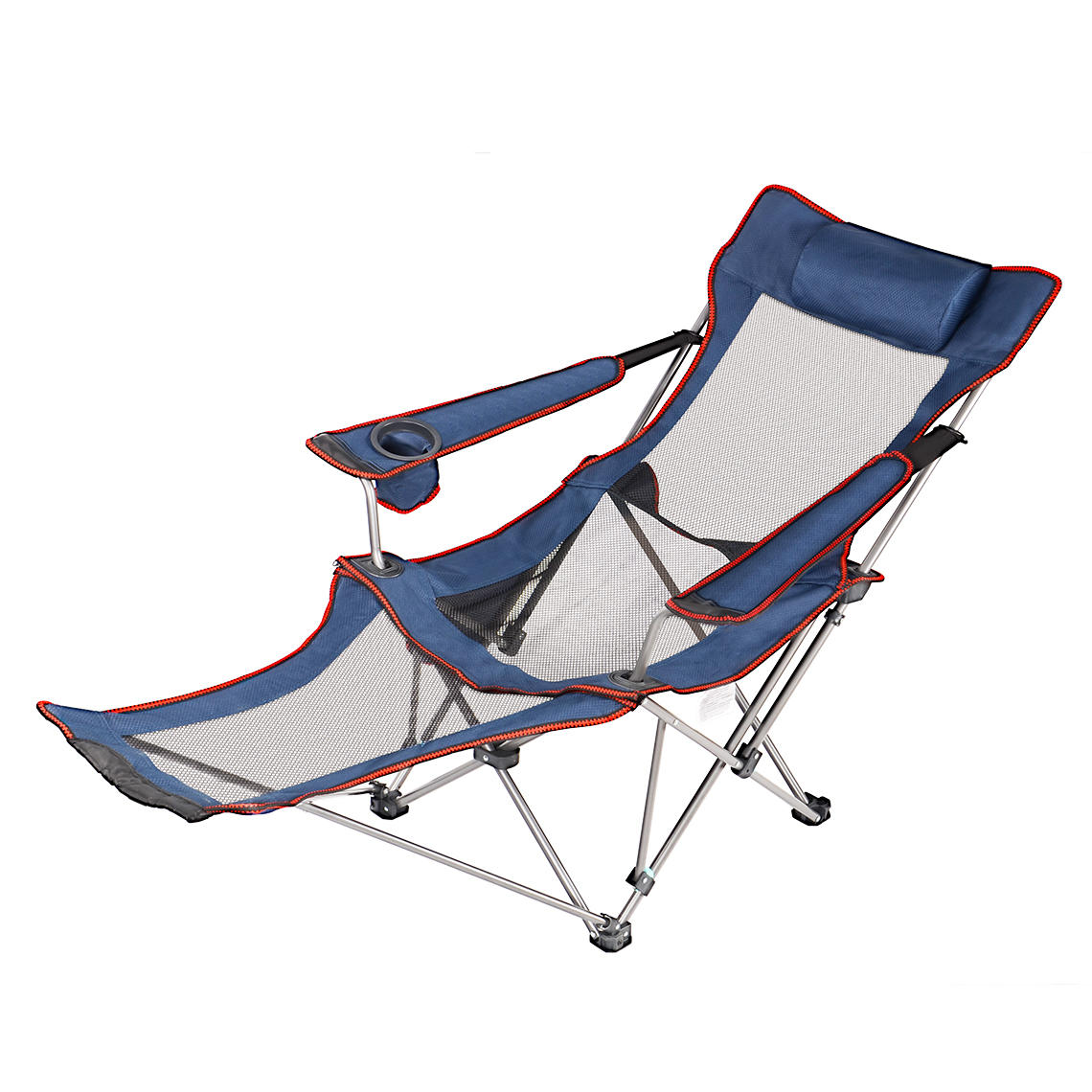 A07b1 livingbasics lvc 51930 all camping backpacking reclining lounging camping folding chair with headrest and footrest livingbasics