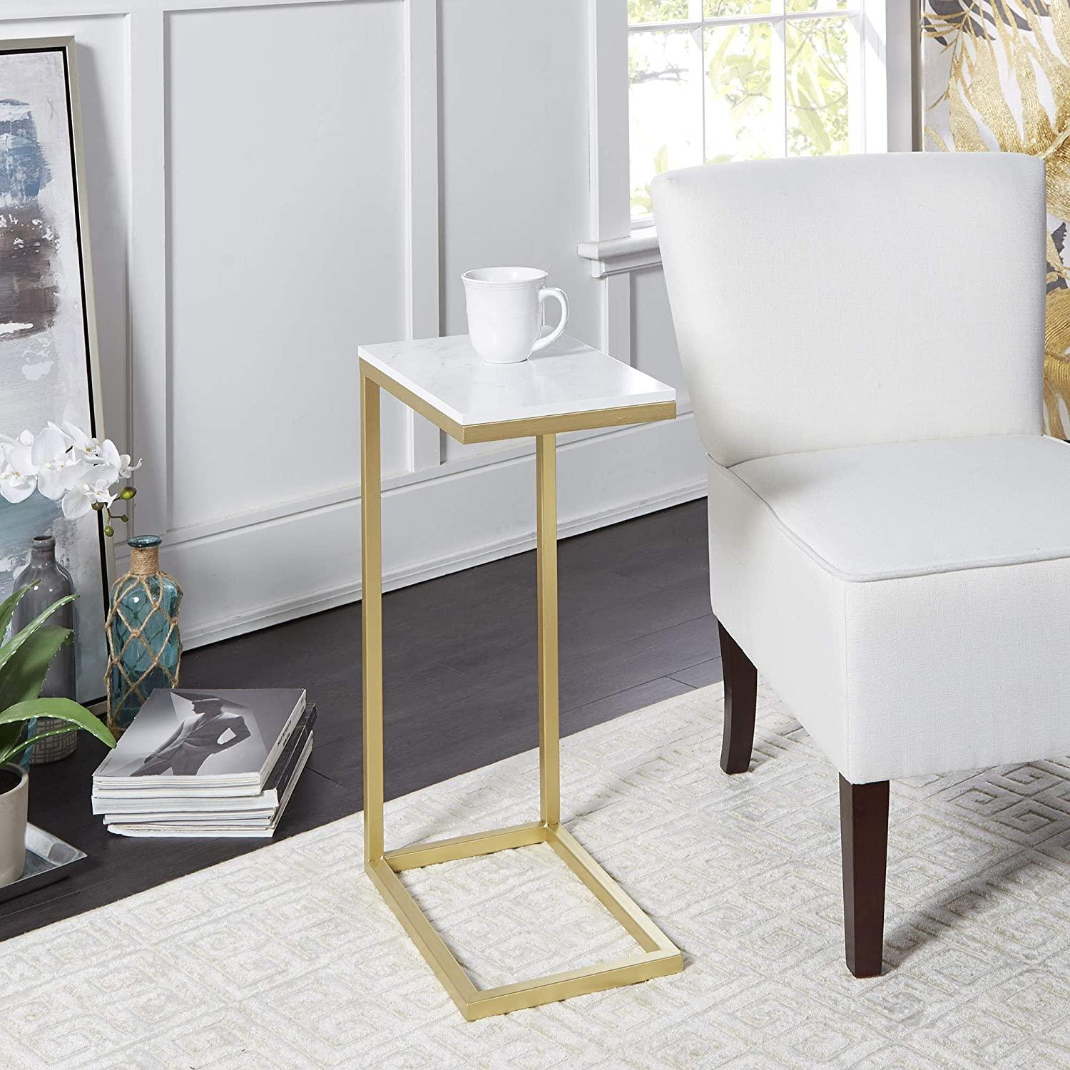 B7c63 safdie co lvth 81053z01 white furnitures cabinets safdie co accent table 19l c shaped white gold metal 50 8 x 30 5 x 61 centimeters