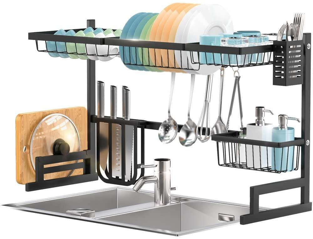 3297d sortwise sw irn 025 hooks wall mount dish drying rack over the sink adjustable large dish rack drainer sortwise