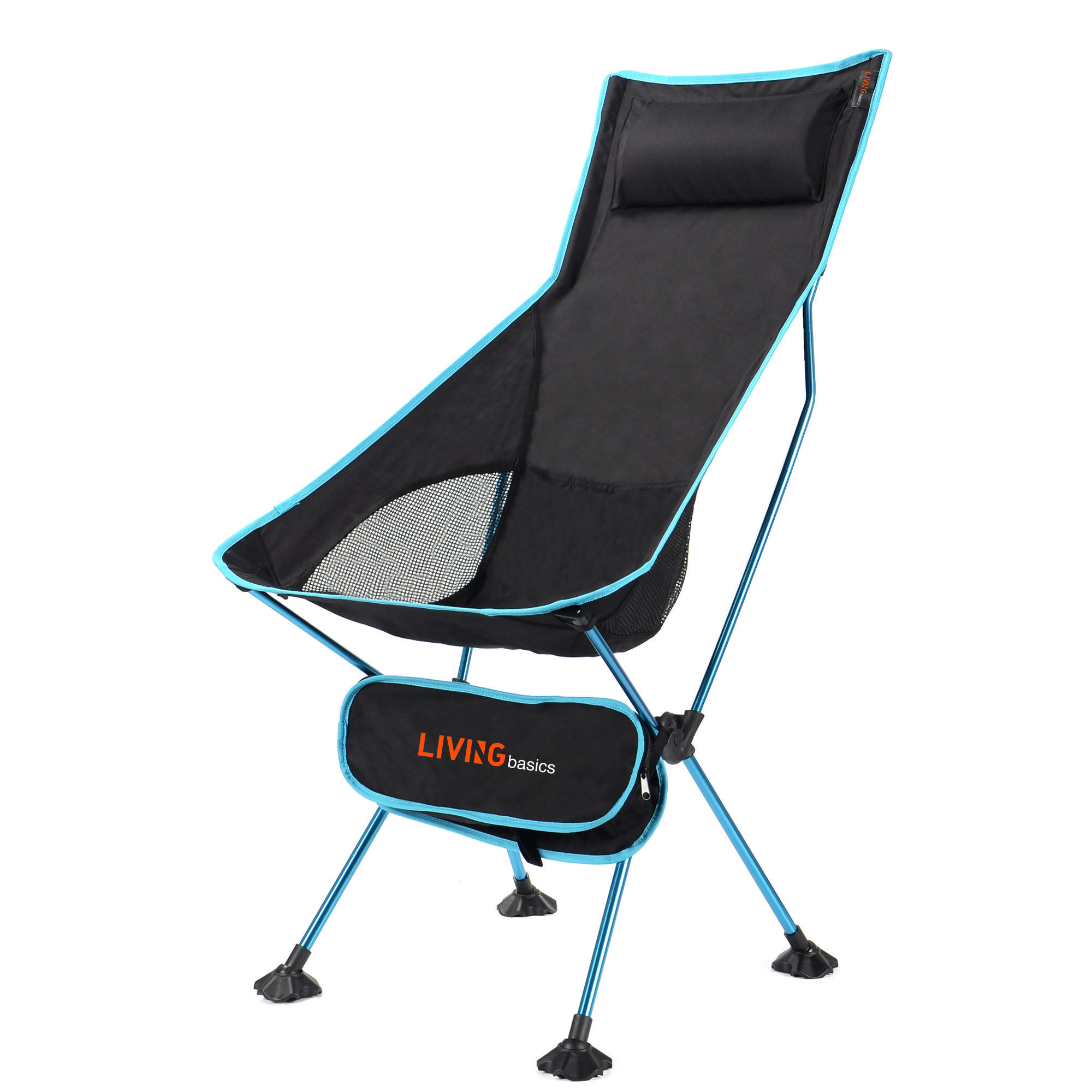 Afd17 livingbasics lvb2 7055 blue camping chairs tables portable camping chair with headrest high back livingbasics