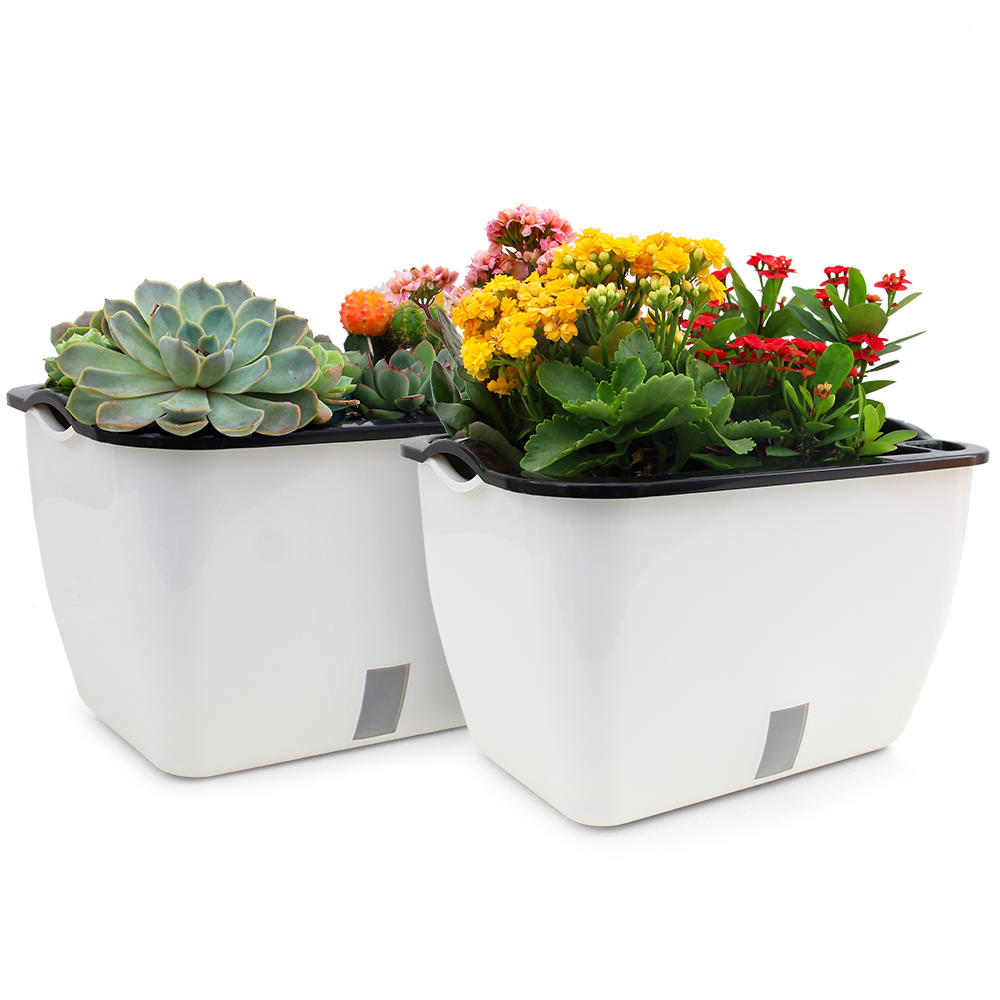 Ea0e4 livingbasics lb gw 08 hand tools self watering planter pot rectangle 18 inch set of 2