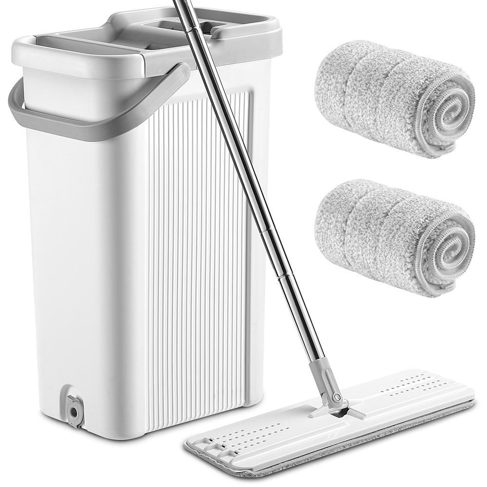 2d294 livingbasics cw nc19c mop broom self wash and squeeze dry flat mop bucket kit livingbaiscs