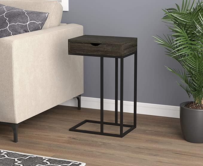 91ea4 safdie co lvth 81058z74 dark gery wood furnitures cabinets accent table 15 75l c shaped dark gery wood 1 drawer black metal night stand
